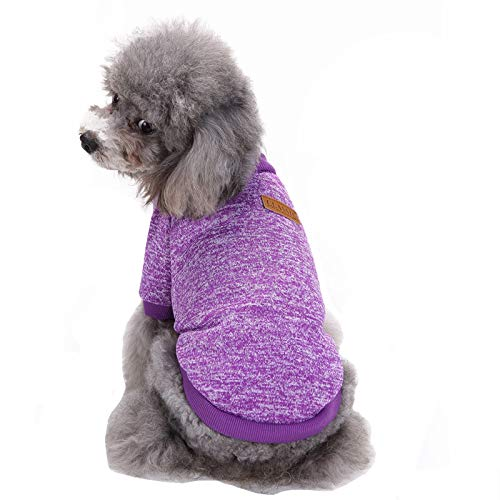 Fashion Focus On Pet Dog Clothes Knitwear Dog Sweater Soft Thickening Warm Pup Dogs Shirt Winter Puppy Sweater for Dogs (Purple, S) ()
