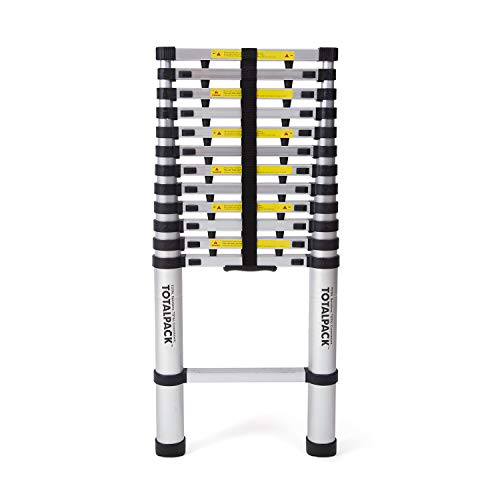 (TOTALPACK Aluminum 12.5ft Telescoping Ladder With Safety Blockers & Carry Bag - Foldable Lightweight Step Ladder With Finger Protectors & Rubber Non-Slip Pads, Perfect For Professional & Home Projects)