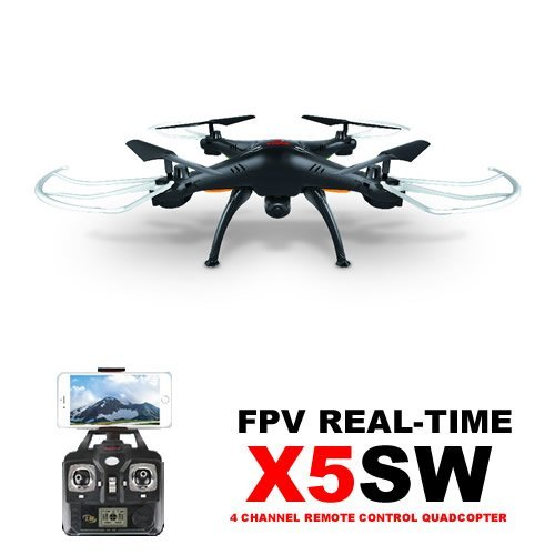 Amazingbuy® – Syma X5SW Wifi FPV Real-time 2.4G Newest RC Quadcopter Drone UAV RTF UFO with 2MP HD Camera Latest Version – Original packing gift Box + 4 extra main propellers + 1 Mobile phone holder + Tracking Number – Black color – With Amazingbuy LOGO