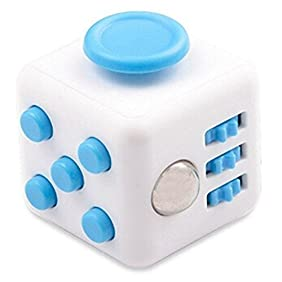 Fidget Cube Relieves Stress & Anxiety Toy Blue/White