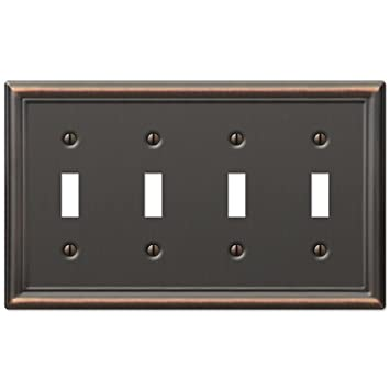 Four Toggle Wall Switch Plate Cover Oil Rubbed Bronze Amazoncom