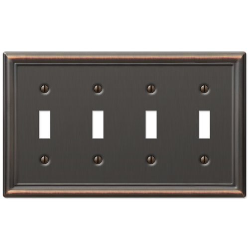 Four Toggle Wall Switch Plate Cover - Oil Rubbed Bronze