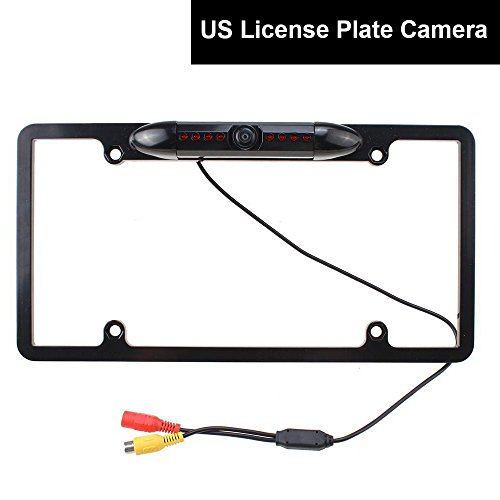 E-KYLIN Car Auto US License Plate Frame Parking Camera 170 Degree Backup Rear View Cam Universal Fit Durable Metal 8 IR Lights Night Vision - Easy Installation