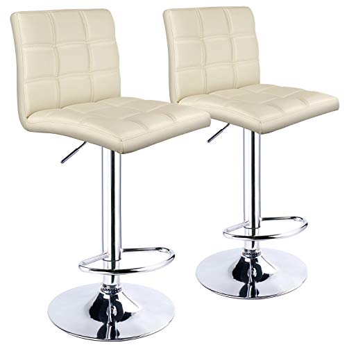 Leopard Adjustable Bar Stools Square Back, PU Leather Padded with Back, Set of 2 (Cream) (Cream Kitchen Leather Chairs)