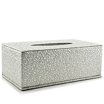 Tissue Box Cover Rectangle Silver Flower Line Pu Leather Holder for Home Office Hotel