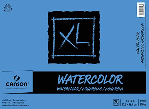 - Canson XL Series Watercolor Textured Paper Pad for Paint, Pencil, Ink, Charcoal, Pastel, and Acrylic, Fold Over, 140 Pound, 11 x 15 Inch, 30 Sheets (7022446)