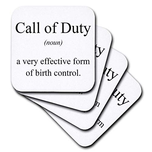 (3dRose cst_173336_3 Call of Duty Noun a Very Effective Form of Birth Control-Ceramic Tile Coasters, Set of 4)