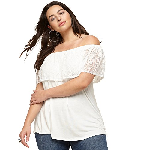 LORALETTE Women's Lace Off the Shoulder Top, 2X Off White