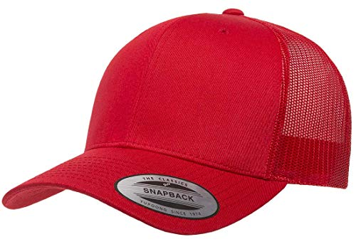 o Trucker Snapback Cap   Mesh Back, Adjustable Ballcap w/Hat Liner (Red) (Mesh Back Baseball)