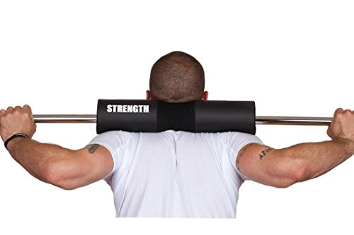 Strength Squats PAD - Olympic Barbell Squat Shoulder Sponge Pads - Perfect for Hip THRUSTS - Provides Neck Pain Relief! Created by A Former NFL Football Player