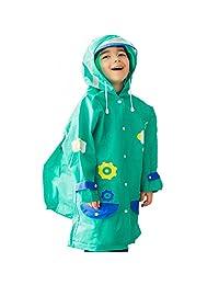 Funkeet Kids Rain Coat with Hood Poncho Rainwear Reflective with School Bag Cover