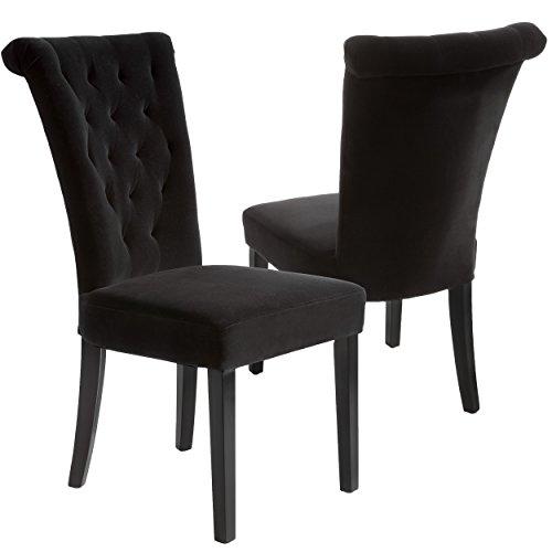 Best Selling Viceroy Velvet Dining Chair, Black, Set of 2