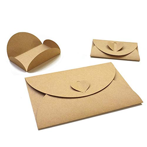 - 50 Pieces Kraft Paper Envelopes with Heart Clasp Gift Card Envelopes Handmade Seed Envelopes Bulk Post Card Photo Holders for Christmas Valentine's Day Wedding Hotel Name Cards Thank You Notes