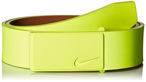 Nike Men's Sleek Modern Plaque Belt, Volt, 38 (Cut Out Logo Buckle Belt)