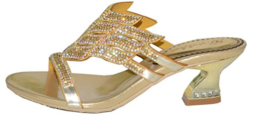 Abby Womens Wedding Party Show Work Rhinestone Block Heel Micro-fiber Sandals Gold dzgCAG