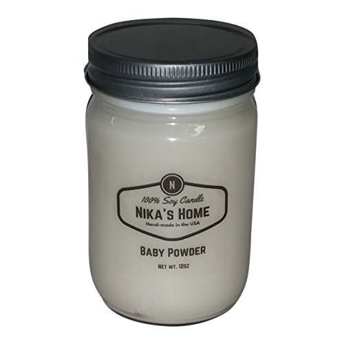 Baby Powder Highly Scented Candle (Nika's Home Baby Powder Soy Candle - 12oz Mason Jar)