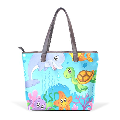 Shoulder Large Handle Bennigiry Undersea Ladies Top Tote Women Theme Handbag Bags Patern URSSqaX