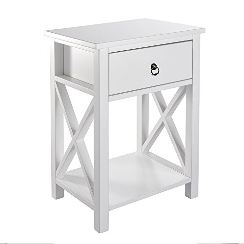 MAGIC UNION X-Design Side End Table Night Stand Storage Shelf with Bin Drawer (Set Bedroom White Mirrored)