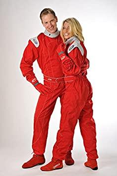 Speed Kart Combination rouge avec des applications grises - Karting suit (XXL) ohr