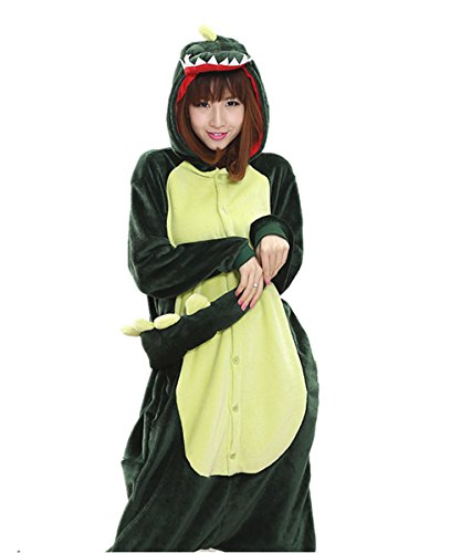 Japsom Unisex Plush Dinosaur Adult Fancy Dress Costume Pajamas Green M (Dinosaur Costume Adults Realistic)