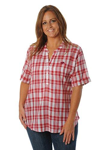 (UG Apparel NCAA Arkansas Razorbacks Women's Plus Size Short Sleeve Plaid Top, 3X,)