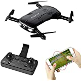 Vanvler Rc Aircraft 6-Axis Gyro 2.0MP Wifi Fpv Drone Camera Selfie Foldable Quadcopter Two Battery (black)