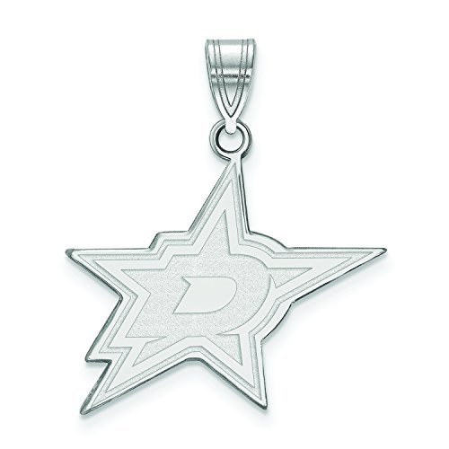 Dallas Stars Large (3/4 Inch) Pendant (10k White -