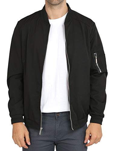 WULFUL Mens Casual Lightweight Jacket Softshell Flight Bomber Jacket Varsity Coat (Black, XX-Large)