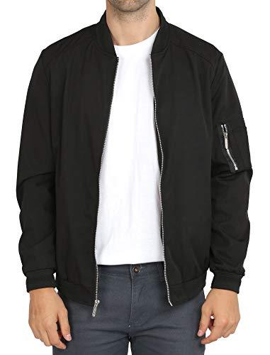 WULFUL Mens Casual Lightweight Jacket Softshell Flight Bomber Jacket Varsity Coat (Black, XX-Large)