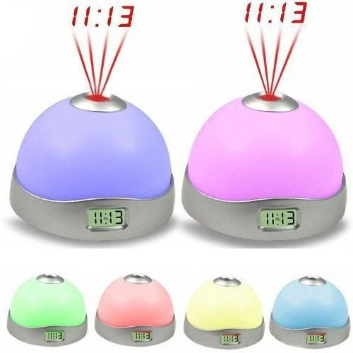 Glumes Projection Alarm Clock 7 Colors Night Light Alarm Clock Digital Alarm Clock with Multiple Alarm Sound Home Decor Easy to Read for Home Office School Bedrooms, Bedside, Desk, Teens, Kids