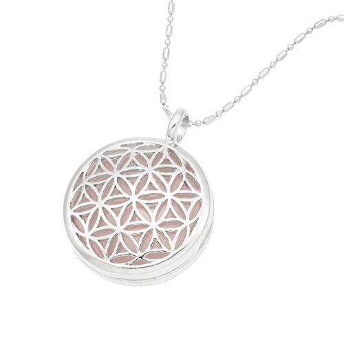 TUMBEELLUWA Flower of Life Locket Pendant Healing Crystal Necklace Hollow Stone Jewelry Unisex,Rose Quartz