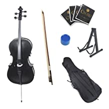 Cecilio CCO-Black Student Cello with Soft Case, Stand, Bow, Rosin, Bridge and Extra Set of Strings, Size 4/4 (Full Size)