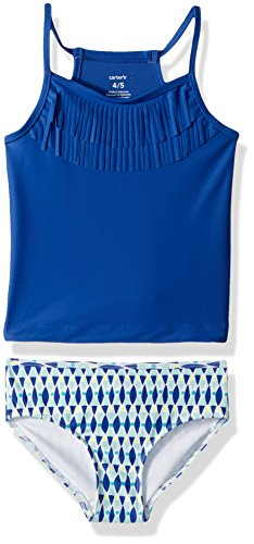 Girls Tankini (Carter's Little Girls' Two Piece Swimsuit, Blue Fringe geo, 8)