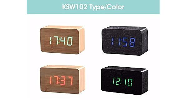 Amazon.com: Wood Bamboo LED Alarm Clock Reloj Despertador Modern Temperature Desk Clock LED Electronic Desktop Digital Table Clock: Home & Kitchen