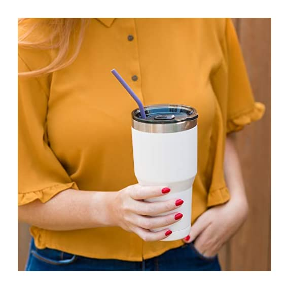 10 Regular Size Reusable Silicone Drinking Straws - 30oz and 20oz tumblers compatible - extra long - with cleaning brush 5 ✔️ HIGH QUALITY SILICONE - We only use food grade, BPA free silicone ✔️ REGULAR SIZE - This slender design is great for tumblers, kids and more! ✔️ COMPATIBLE WITH TUMBLERS - Use with your favorite RTIC, tervis, YETI 20oz or 30 oz