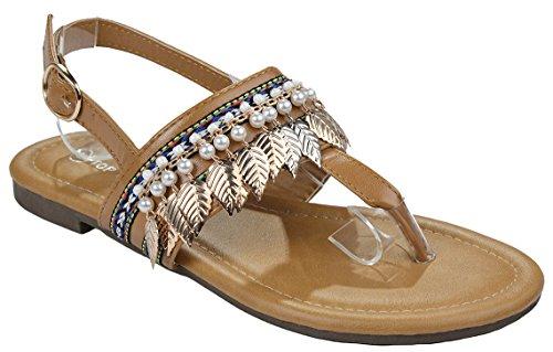 hemian Beaded Gem Gold Leaf Embellishment T-Strap Thong Flat Sandal Shoes-5 ()