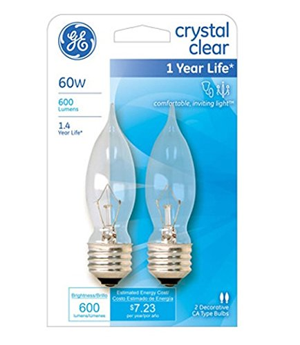 60w Med Bulb (Generalelectric Ge Lighting 69915 60 Watt Crystal Clear Ca9 Bulb, 0.8 Ounce)