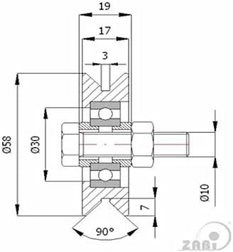Zab S metallo ruote per cancelli con cuscinetto su ferro di angolo senza fissaggio