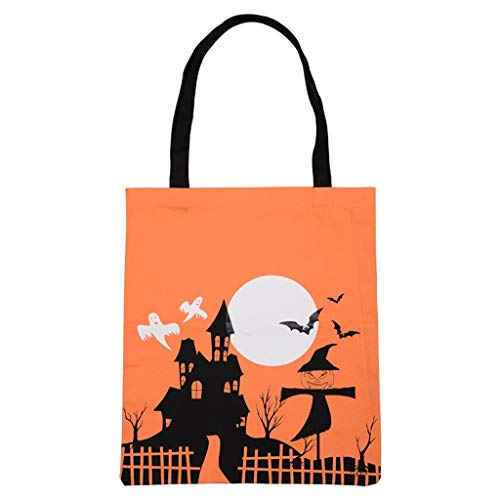Candy Bag Halloween Cute Witches Candy Bag Canvas Tote Shopping Handbag Orange (A, Orange)