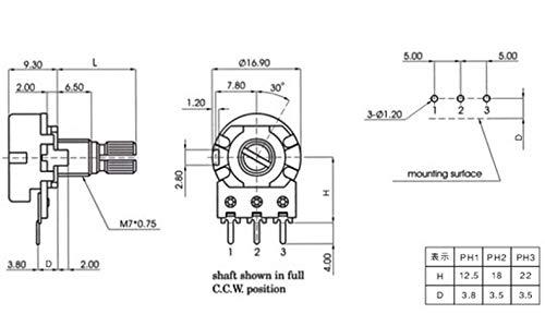 HiLetgo 20pcs WH148 Single-Joint Potentiometer 1M 1M Variable Resistors 15mm Shaft 3Pins 1M Ohm Potentiometer
