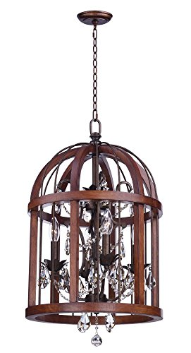 Maxim 32512APBY, Miranda Incandescent Single Pendant, 4 Light, 60 Watts, Antique Pecan and Bay