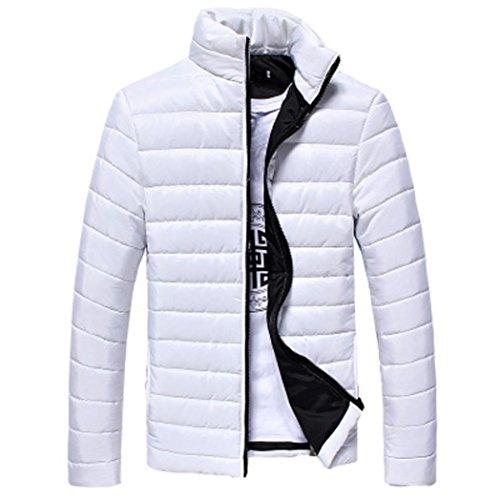 SHOBDW Gruesa Stand de Hombres Blanco Chaqueta Caliente Invierno algodón Abrigo Cremallera O4OrqU