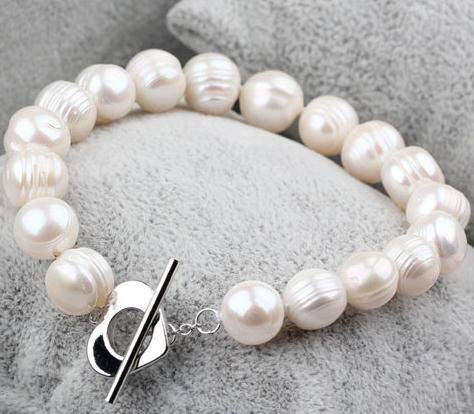 Freshwater Pearl Heart Toggle Bracelet - Gabcus Pearl Bridal Bracelet Wedding Bride Pearl Jewelry,White Color 10-11mm Real Freshwater Pearl Bracelet with Heart Toggle Clasp