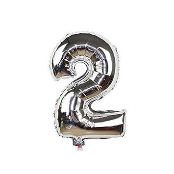 ShopVip Globos de cumpleaños - número 2 - Decoración Cumpleaños gigante de la boda 80 CM - Número gigante globo plata - Número globo 2 años - Número 2 ...