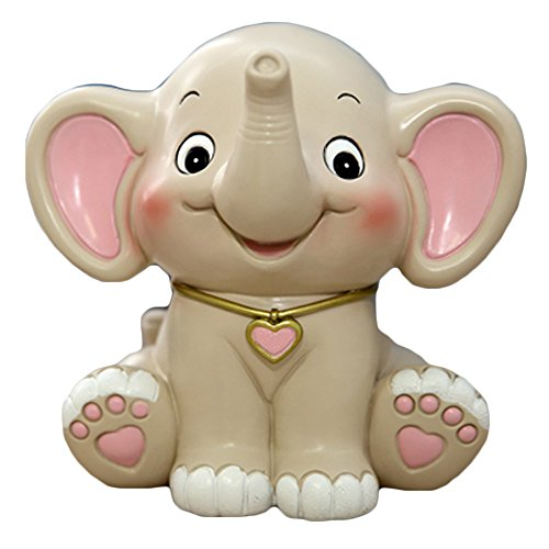 Price comparison product image WAIT FLY Cute Elephant Shaped White Pink Resin Piggy Bank Coin Bank Money Bank Gifts for Lovers Children Home Decoration