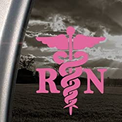 Caduceus Registered Nurse RN Pink Decal Window Pink Sticker