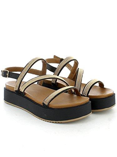 Plataforma Inuovo 7461 De Sandalias Zapatos Negro 070qfw