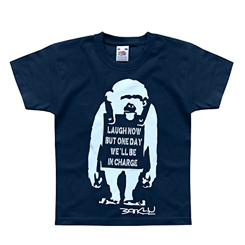 Nutees Banksy Laugh Now Monkey Art Funny Ape Unisex Kids T Shirts - Navy 7/8 - Delivery One Day Fedex