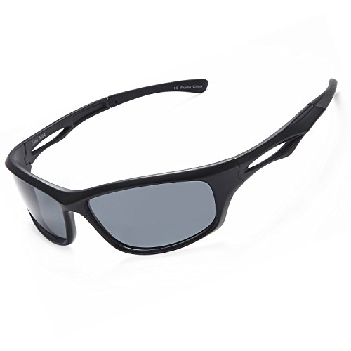 Siren Polarized Sports Sunglasses w Case TR90 Unbreakable Frame (Grey Lens on Matte Black - Mens Sport Sunglasses