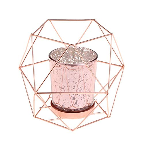 (Crystal-heart-store Nordic Style 3D Geometric Candlestick Metal Candle Holder Wedding Home Decor,Rose Gold)